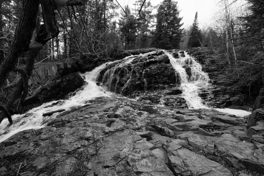 A Bl;ack and White of Chester Creek Falls