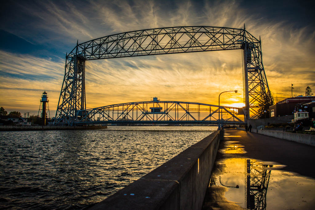 Sunset behind Duluth's Lift Bridge